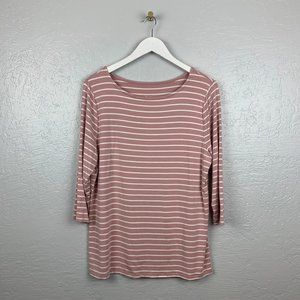 A New Day Blush Pink White Stripe 3/4 Sleeve Shirt